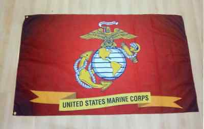 Marine Corps Flag Banner 3x5 ft Emblem Man Cave Spun Polyester USMC US Army