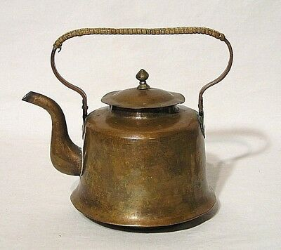 Old Bell Shaped Lidded Copper Tea Pot w/Wrapped Handle Goose Neck Spout China
