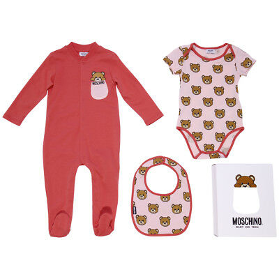 Moschino set regalo rosa tutina body e bavetta
