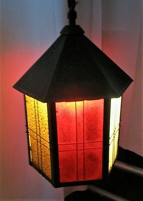 Art Deco  French Lantern  Pendant Chandelier Iron Bubbled Colored Glass HTF