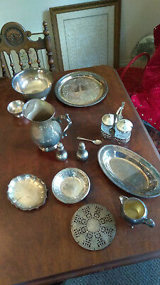 Nice Lot Of Vintage Silverplate Platters, Pitcher, Revere Bowl, Condiments