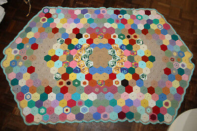 vintage Crochet wool throw 1960s Hand made quilt antique retro bed sofa lot3