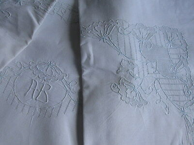 "PILLOW SHAM White Linen Embroidered ""AB"" Monogram Large 32""x39"" Antique Vintage"