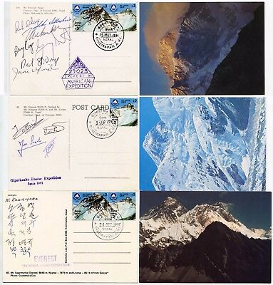 Mountaineering Everest Nepal Expeditions Signed Japan Spain America 3 Cards 1991