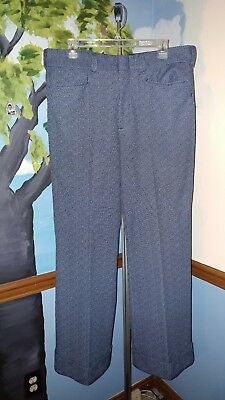 Mens Vintage LEE dress pants 33w x 27 double-knit polyester wide cuffs 70s disco