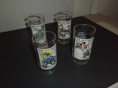 Norman Rockwell Set of 4 Drinking Glasses Saturday Evening Post 1987 Arby's