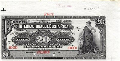 Costa Rica 20 Colones 10.10.1914  P 160s Series A Specimen Uncirculated Banknote