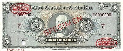 Costa Rica  5  Colones  ND. 1960's  P 228s  Series C  Uncirculated Banknote