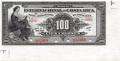 Costa Rica 100 Colones 1.11.1914  P 164s Series A Specimen Uncirculated Banknote