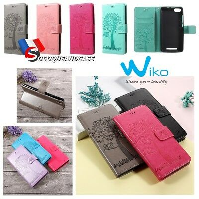 Etui Folio coque housse Nature Cuir PU Leather case cover skin WIKO Lenny 3 ou 4