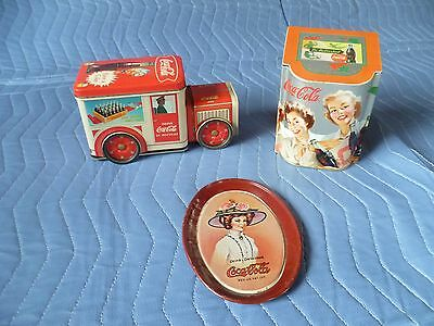 Lot 3 Coca-Cola Lidded Tin/Delivery Truck Containers/Mini Oval Tray Collectible