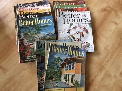 19 x Vintage Magazines USA Better Homes and Gardens 1956-1971