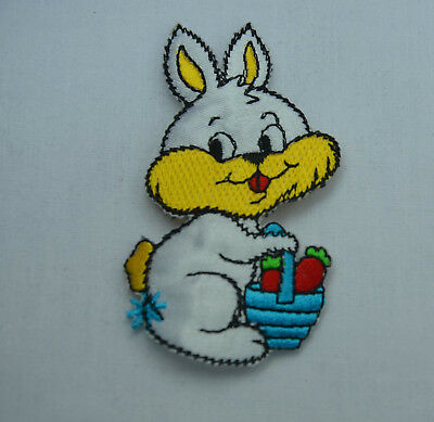BUNNY RABBIT WITH BASKET 8cm  Embroidered Sew Iron On Cloth Patch Badge APPLIQUE