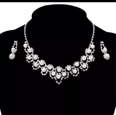 Pearl Faux Pearl Rhinestone Necklace Earring Fashion Jewelry SET  Bridal Wedding