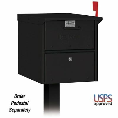 LARGE Locking Mailbox Security Post Mount Secure Lockable Mail Box Black Metal