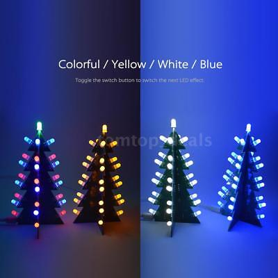 3D Christmas Tree Electronic Kit with Blinking LEDs XMAS Soldering Project Tool