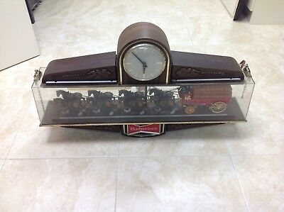 Vintage 1970's Budweiser Clydesdale Hanging Clock Advertising Sign light works