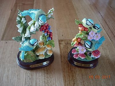 Vintage Blue bird Country Collection ornaments - set of 2