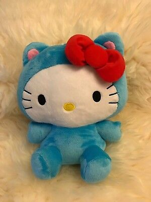 """NWT UFO Catcher Round 1 Exclusive Hello Kitty Plush 10"""" Blue Bow Tie Cat Ear"""