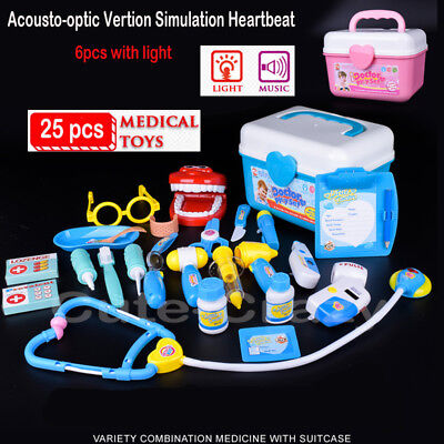25Pc Doctor Medical Light Set Toy Nurse Carry Box Kid Role Play Pretend Kit Case