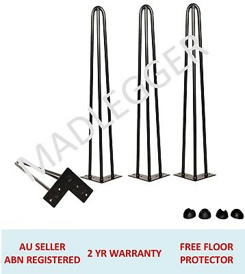 4x HAIRPIN LEGS - 12MM RODS - POWDER COATED BLACK- 25CM to 90CM