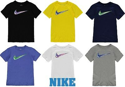 Nike New Boys Junior Crew Neck  Swarm Cotton T Shirt Size Age 7-13 Geniune