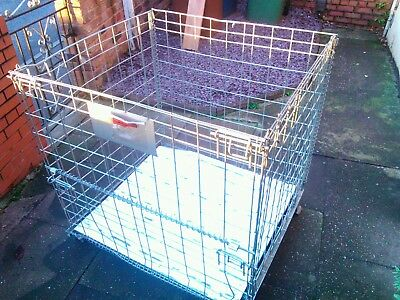 Large Steel Pallet  Collapsible Sides Crate Cage  Storage Log Box