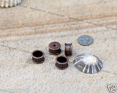 4 Copper crafted barrel bead cap connector spacer beads 15x8.5mm,fits 3mm cord