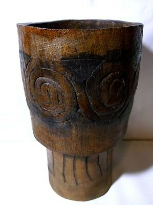 VTG 1968 Ceramic African Zulu Tribe Congo Open Drum Brutalist Art Pottery by MLR