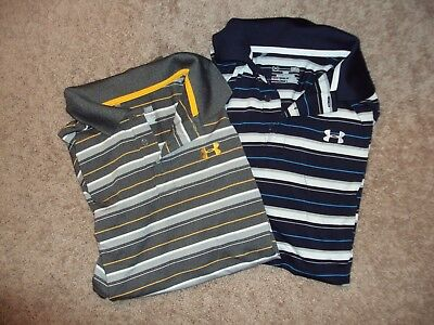 Under Armour Lot Of 2 Golf/polo Size Large Heatwear Short Sleeved Shirts Euc
