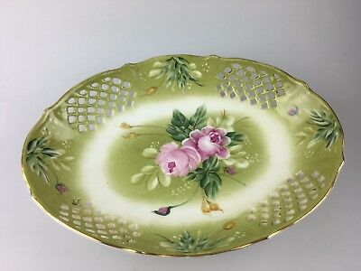 Vintage Oval Shaped Bowl On Legs - Green With Floral - Fulham English Country