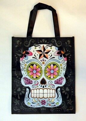 Day Of The Dead Suger Candy Skull Shopping Bag Reusable Recycled Grocery Tote