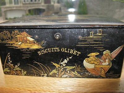 Antique Victorian French Olibet Biscuit Tin, papier mâché Chinoiserie 19thc RARE