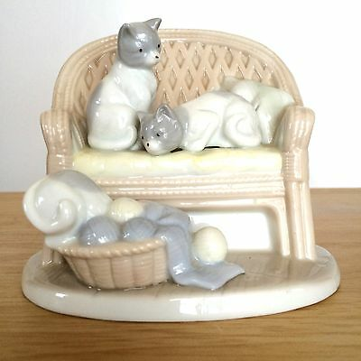 Cats On Sofa With A Basket of Yarn George Good Figurine