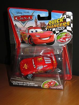 DISNEY PIXAR CARS : LIGHTNING McQUEEN WITH CRASH DAMAGE ~ QUICK CHANGER RACE NEW