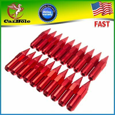 Aluminum Wheels Rims Lug Nuts 20PCS M12X1.5 Cap Spiked Extended Tuner 60mm Red