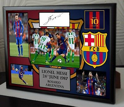 Lionel Messi Barcelona Signed Tribute Framed Canvas Great Gift or Souvenir