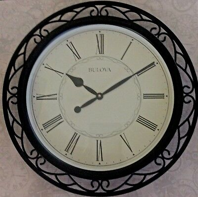 Bulova Large Wall Clock Black Wrought Metal Case Round Dial Roman Numerals New!