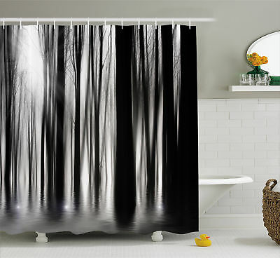 Black And White Shower Curtain Abstract Woods Print For Bathroom 70 Inches Long