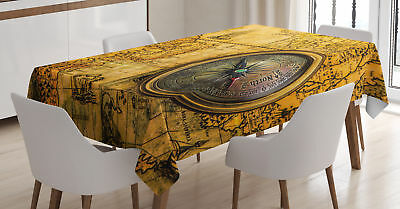 Map Tablecloth Vintage Antique Windrose Rectangular Table Cover 60 X 84 Inches