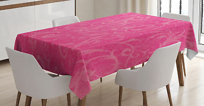 Hot Pink Tablecloth Lovely Floral Swirls Rectangular Table Cover 60 X 84 Inches
