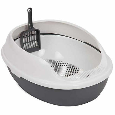 Antibacterial High Side Cat Litter Tray Scoop Pet Toilet Training Box Potty Cave