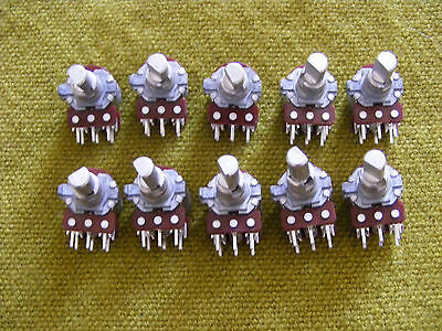 10 off Potentiometer 10kA audio dual concentric
