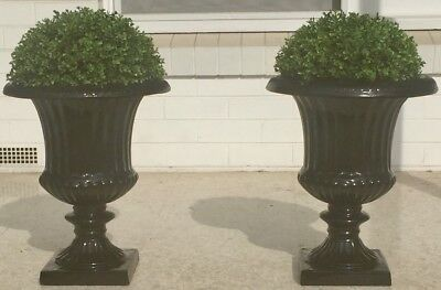 Pair Of Stunning Black Urns With Faux Topiary