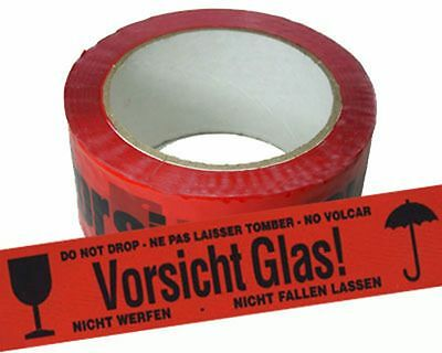 ( eur. 0,02 / m-eur 0,04/M) Tape Warning 50mmx66m Red Imprint Attention Glass