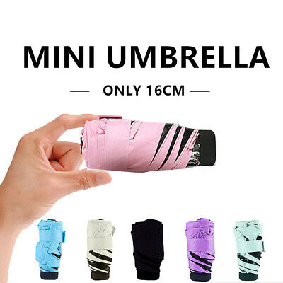 Folding Mini Lightweight Umbrella Compact Anti UV Rain Sun Parasol 5-Folding