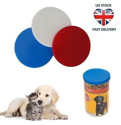 1 3 or 6 x CAN LID COVERS PET FOOD TIN - FITS MOST SIZE Reusable Storage Cat Dog