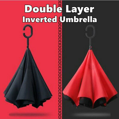 Windproof Upside Down Inverted Umbrella Reverse C-Handle Double Layer Car Use