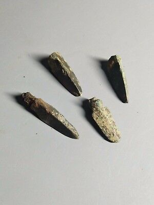 4 Vairous Ancient Chinese Bronze Arrowheads - Warring States 475BC-221BC