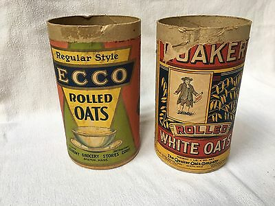 2 vintage rolled oats cardboard containers Quaker ECCO